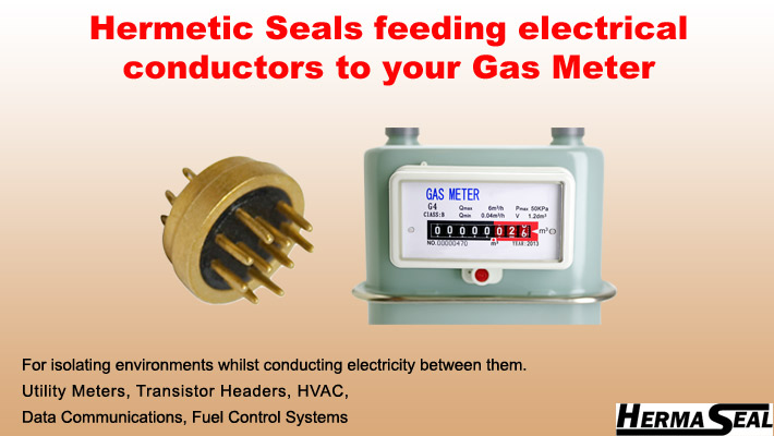 b - Hermetic Seals feeding electrical conductors to your gas meter